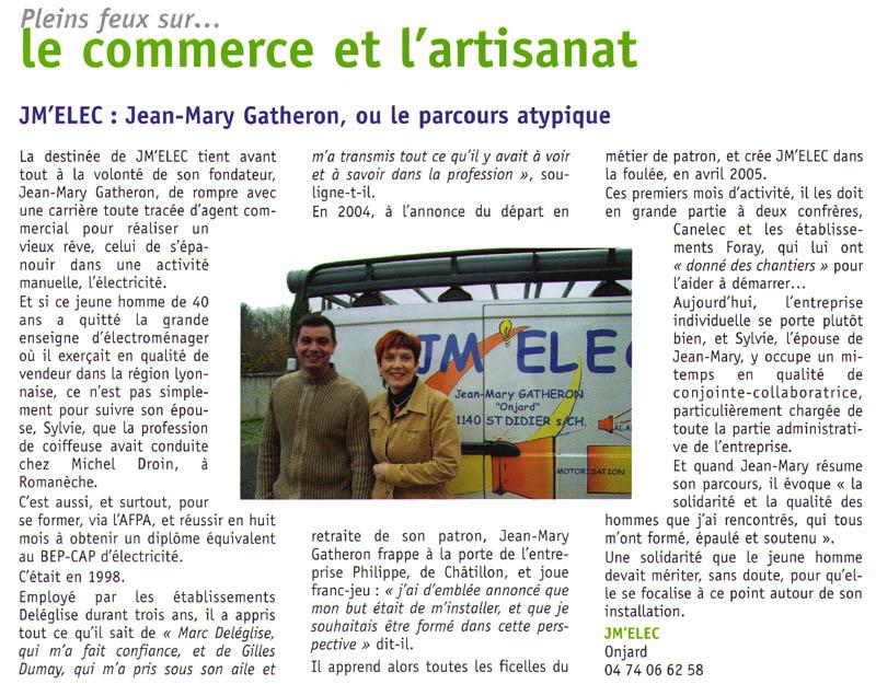 JM'ELEC : Jean-Mary GATHERON - Électricien à Saint-Didier-sur-Chalaronne - Création dans l'Ain et le Rhône